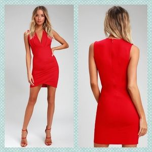 Lulu's Cocktail Hour Red Wrap Dress